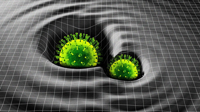 An illustration of coronavirus spike proteins