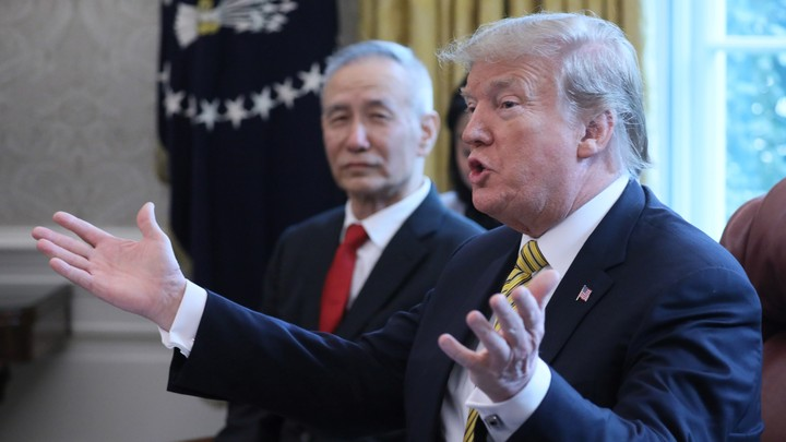 Donald Trump speaks while meeting with Chinese Vice Premier Liu He in the Oval Office on April 4, 2019.