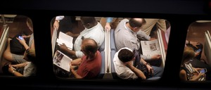 Passengers are pictured on the Washington, D.C. metro system.