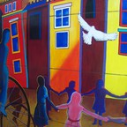 Peace mural in the Shaw-U Street area of DC, which has seen a rapid growth in white residents.
