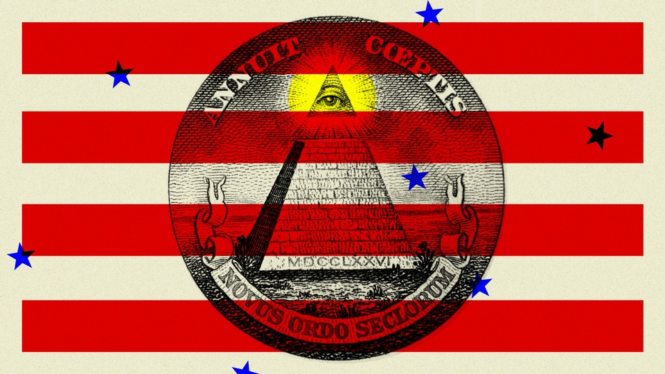 An illustration of the pyramid eye over the stripes of the American flag.