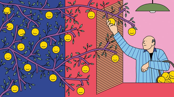 An illustration of an old man picking smiley faces off a tree.