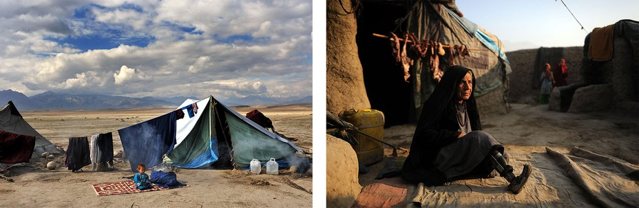 Left:  A refugee camp with a young child sitting alone. Right:  a woman injured. by a missile strike