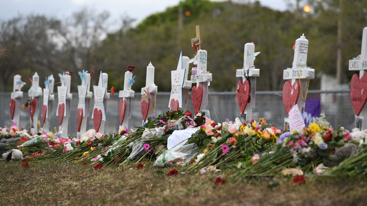 Memorials honoring the students killed at Marjory Stoneman Douglas High School in Parkland, Florida