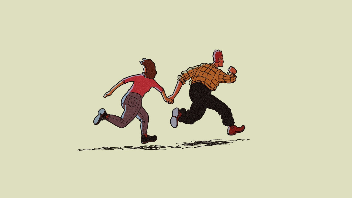 illustration of two people running