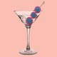 An image of a martini glass with viruses in place of olives