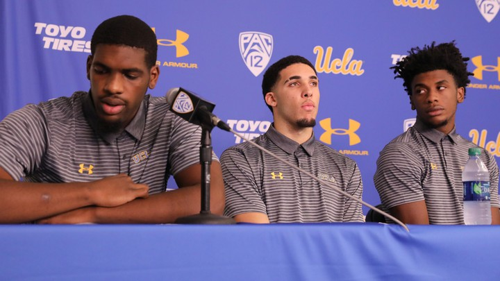 Cody Riley, LiAngelo Ball, and Jalen Hill speak at a press conference after returning to the United States on Wednesday.