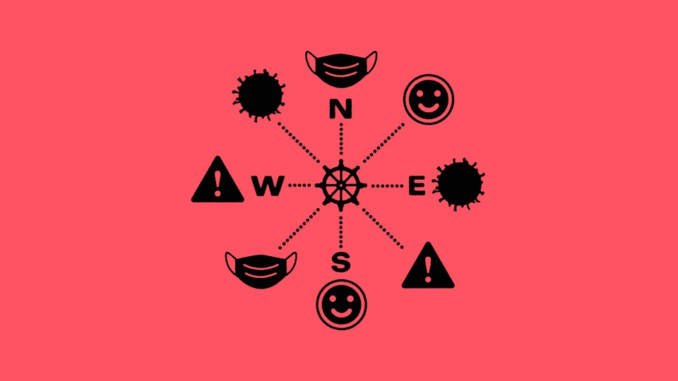 A ship's steering wheel is surrounded by smiley faces, masks, warning signs, and the coronavirus.