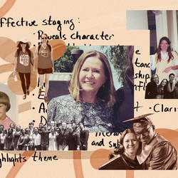 A photo collage of Judith Harper's teaching career.