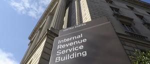 a photo of the Internal Revenue Service building.