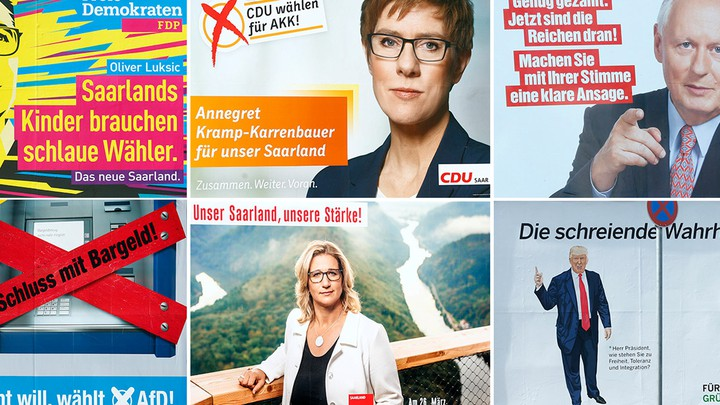 Election placards from FDP, CDU, Die Linke, AfD, SPD, and the Greens pictured inSaarbruecken, Germany on March 13, 2017