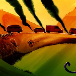 Cars drive over a highway-sized anteater snout