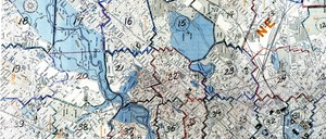 A map of Washington, D.C., divided up in sections by amateur mapmaker John P. Wymer.