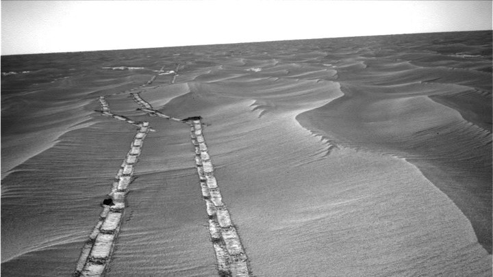 Tracks left behind by the Opportunity rover on Mars