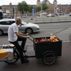 A cargo cyclist in Amsterdam