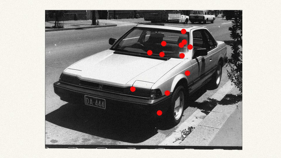 Collage of car with red dots