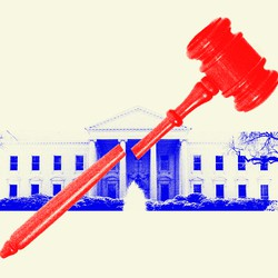 A broken judge's gavel and the White House