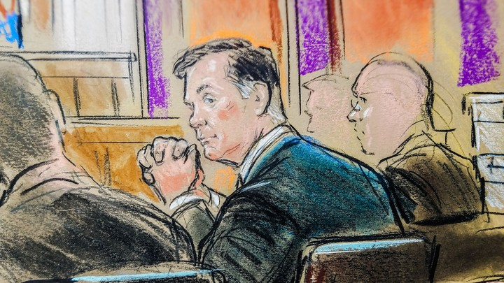 Former Trump campaign chairman Paul Manafort is shown in a courtroom sketch