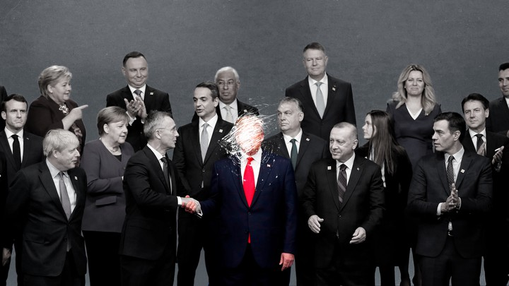 An image of world leaders with Donald Trump's face brushed off
