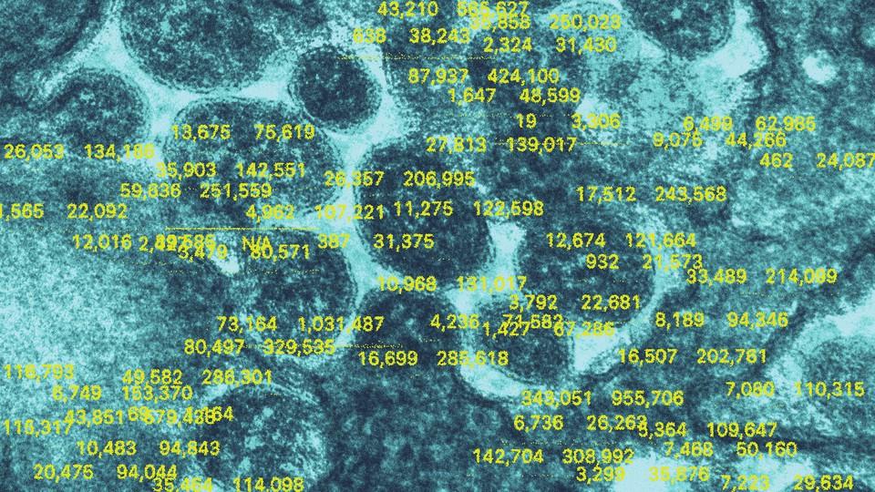 Illustration of test numbers on top of virus