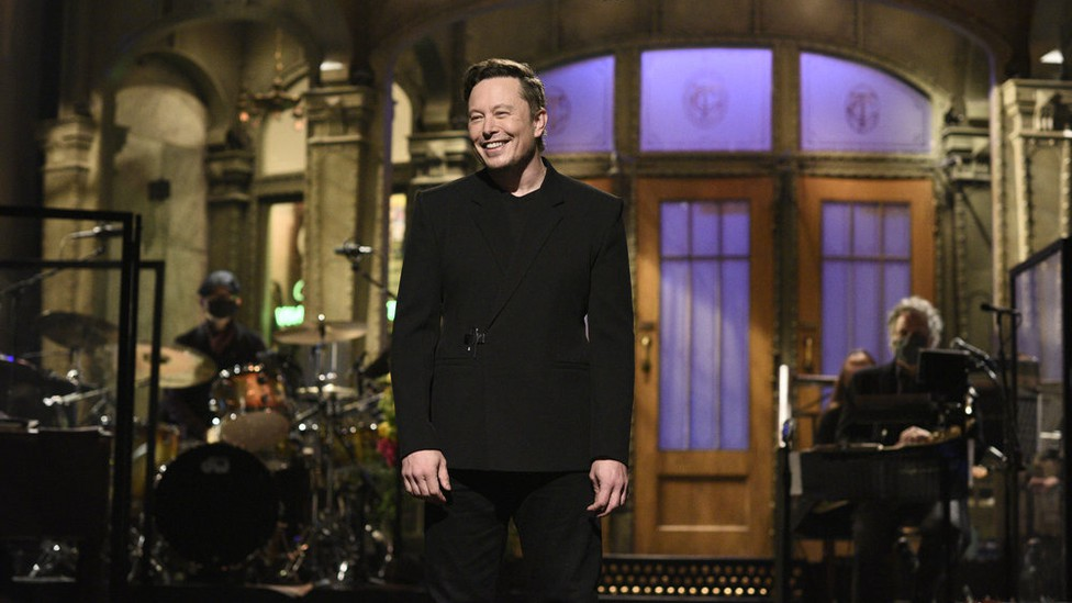 Elon Musk on the set of 'Saturday Night Live'