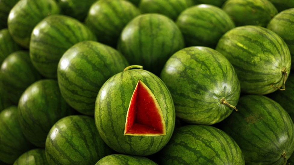 A stack of watermelons