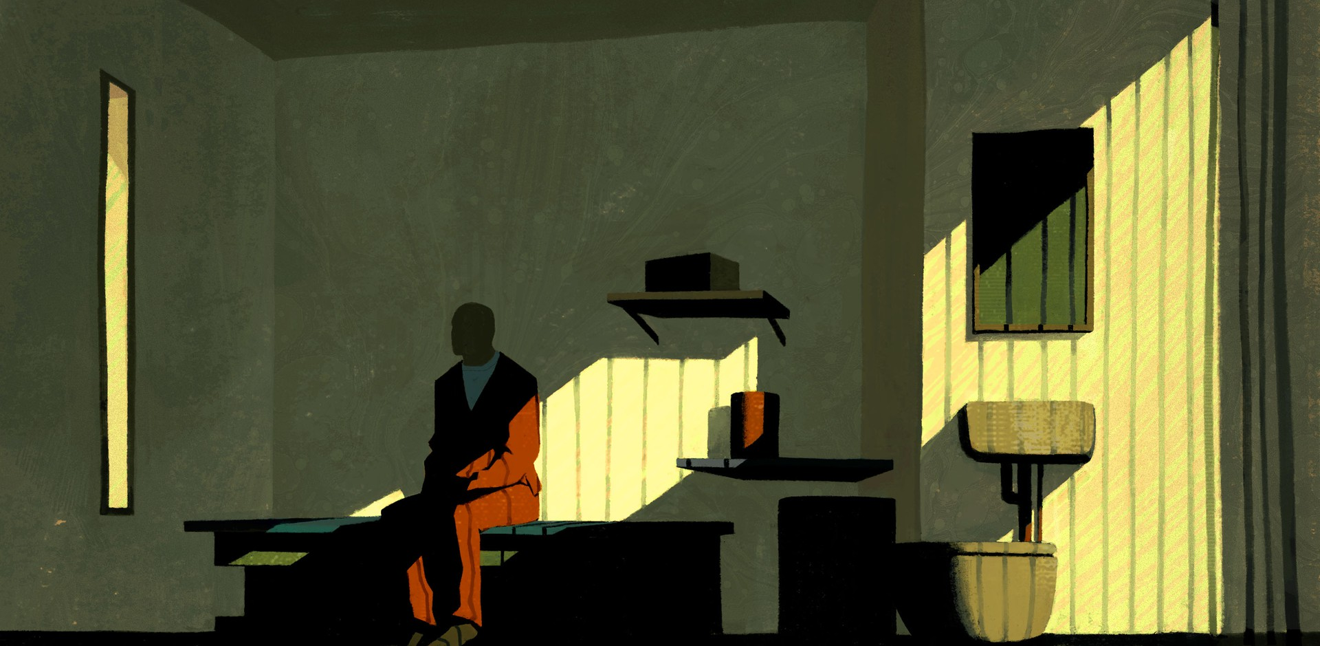 An illustration of a man in a prison uniform, sitting half in shadow in a cell