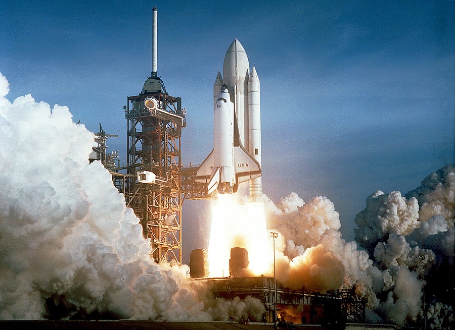 Launch of Space Shuttle Atlantis orbiter for STS-45 mission KSC Photo Print