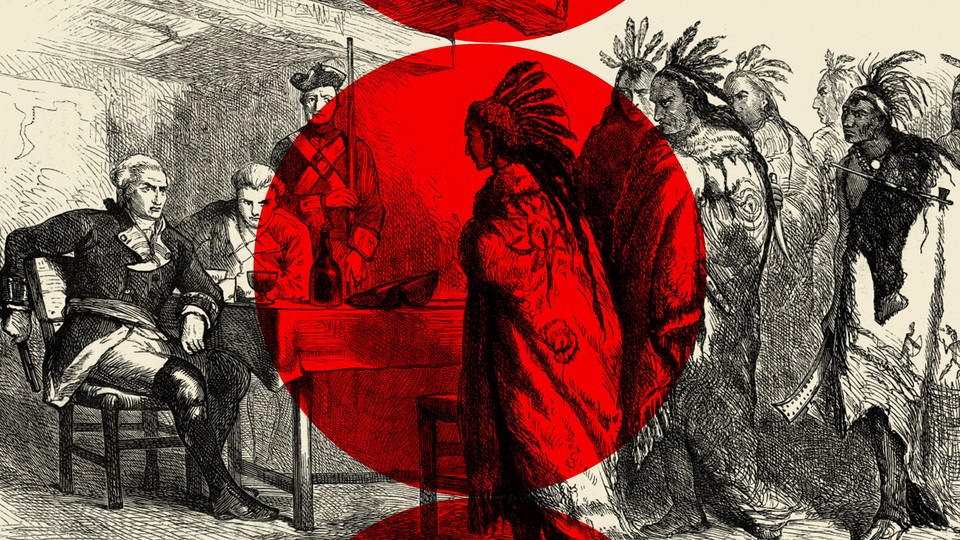 An illustration of Pontiac and other Native Americans meeting with Major Gladwin
