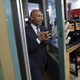 Deval Patrick enters The Bridge Cafe in Manchester, New Hampshire.