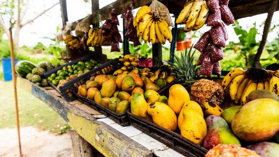 Fresh fruit sold by a mountainside vendor in Jamaica