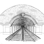A drawing of a subway station from the front of the tracks
