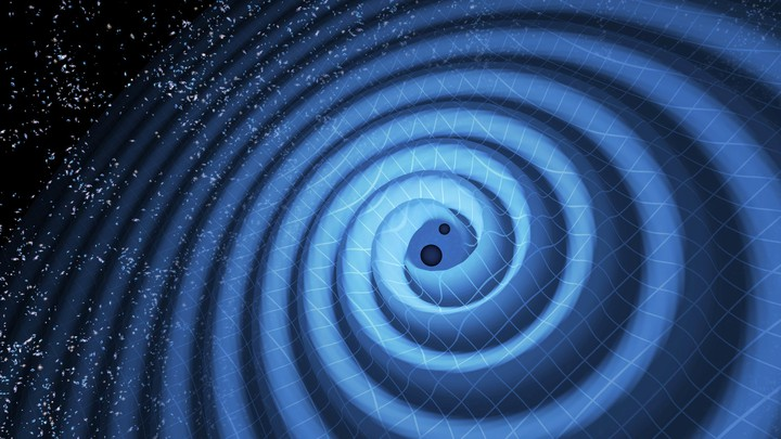 An illustration of black holes spinning so fast that they radiate gravitational waves