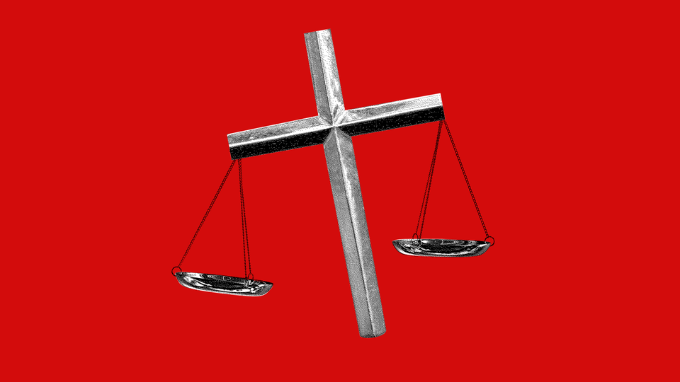 An illustration of a cross with balancing scales