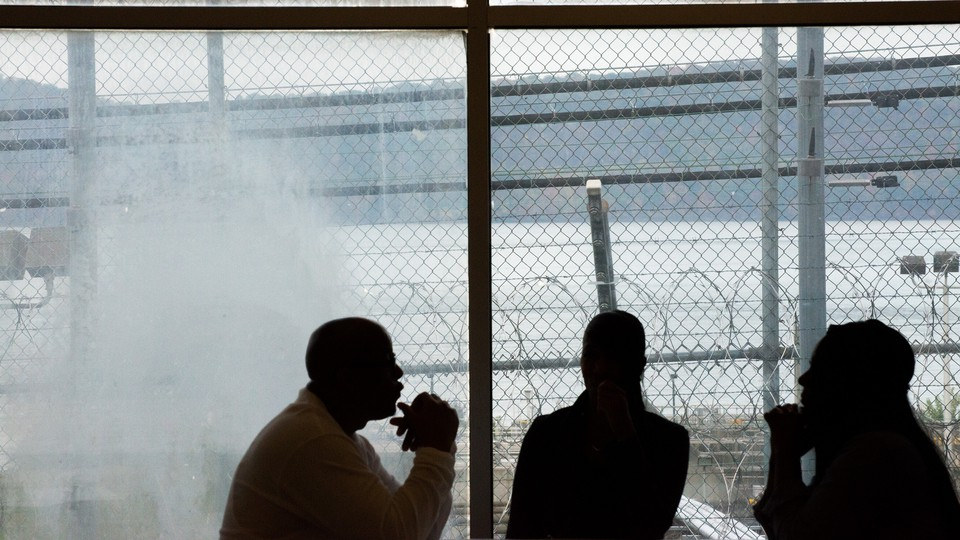 An inmate meeting guests at Sing Sing Correctional Facility in Ossining, N.Y.