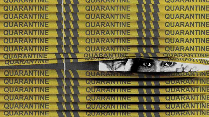 "illustration of someone peeking through yellow tape labeled ""quarantine"""