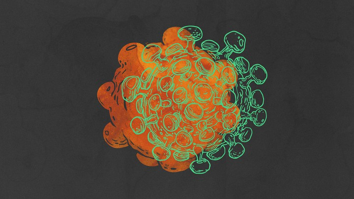 A cartoon drawing of a virus overlaid on a extracellular vesicle