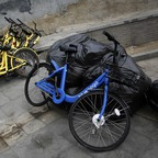 'Rogue' bike-share bikes are pictured.