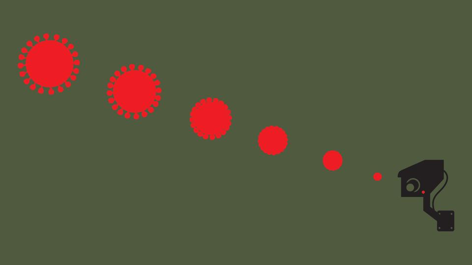 A video camera watches red dots get bigger and bigger.