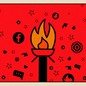 A torch surrounded by social media logos and symbols