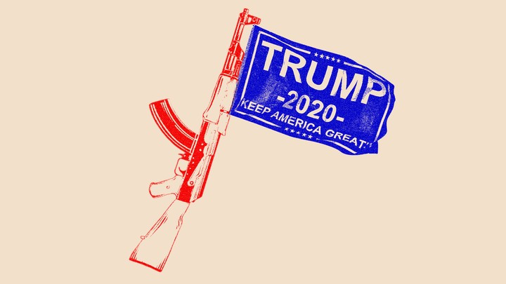 An illustration of a firearm and a Trump 2020 flag.