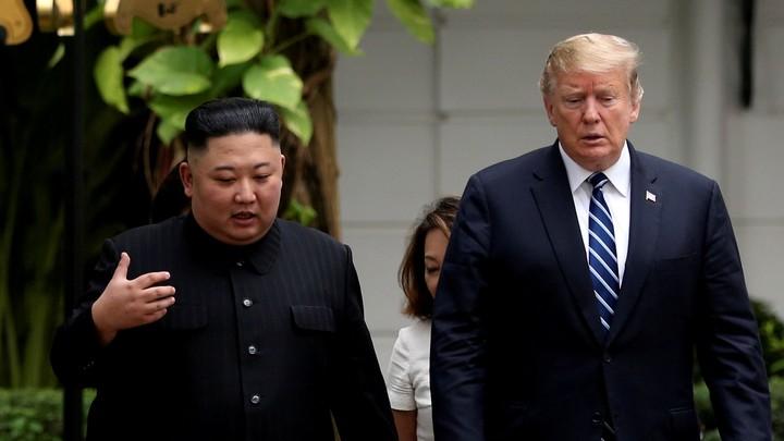 Kim Jong Un and Donald Trump during the second North Korea–U.S. summit