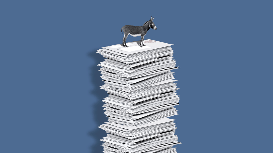 An illustration of a donkey on top of a pile of mail-in ballots.