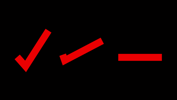 An illustration of a check mark transforming into a minus sign