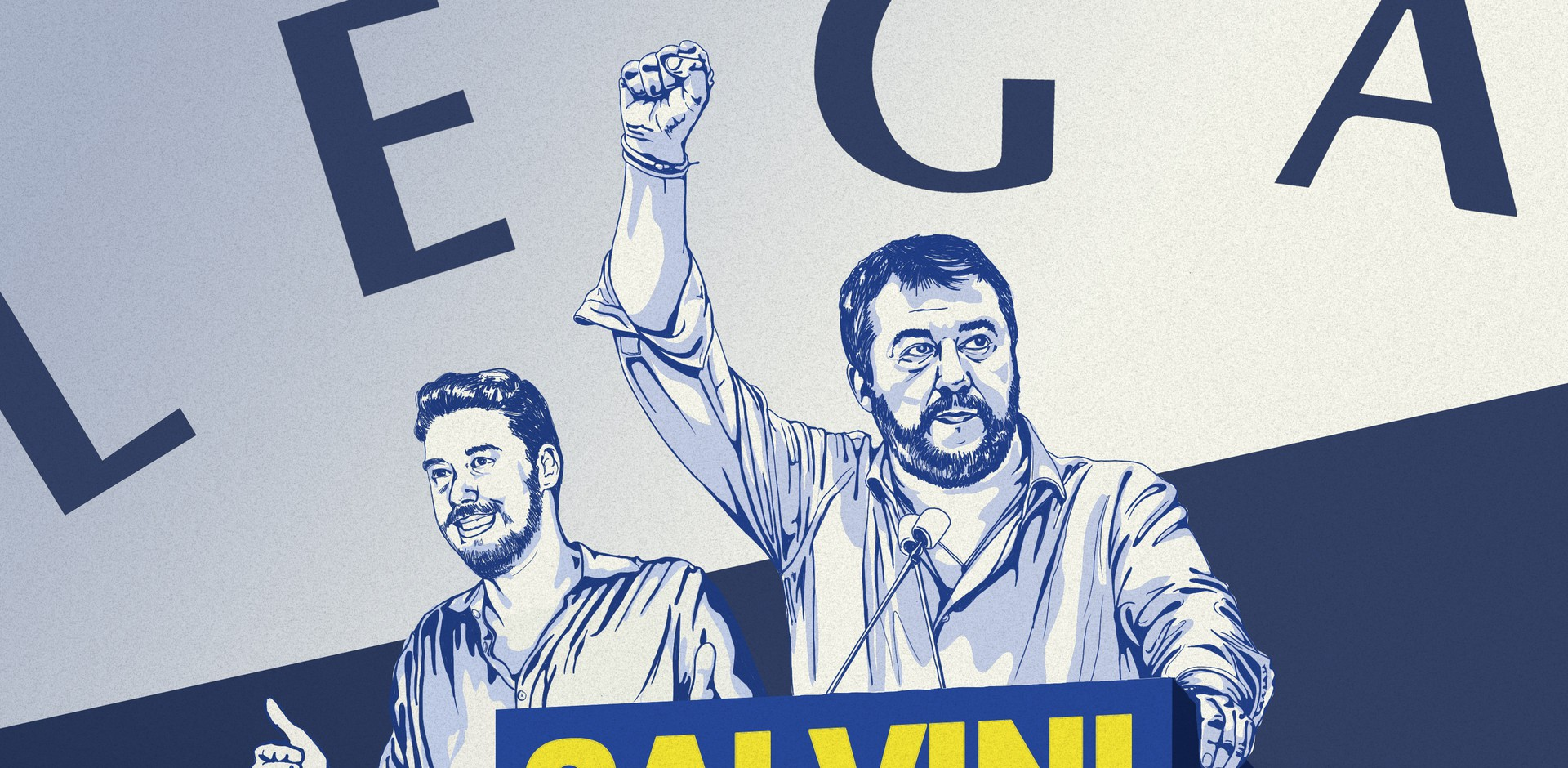 An illustration of Matteo Salvini and Luca Tocallini standing behind a lectern and in front of their party's flag.