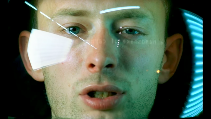 """Thom Yorke's helmet fills with water in the """"No Surprises"""" video"""