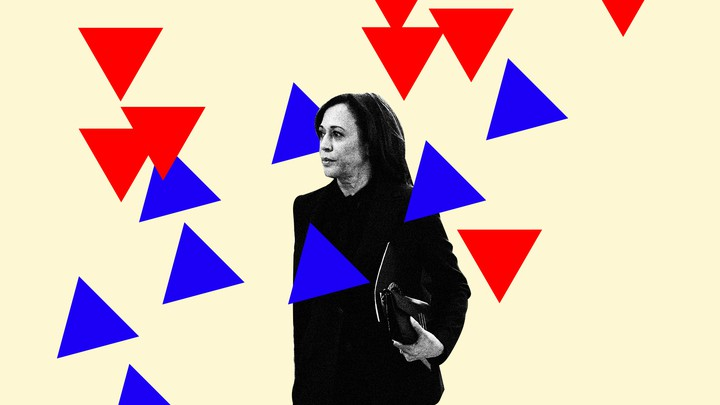 An illustration shows Vice President Kamala Harris surrounded by red and blue triangles.