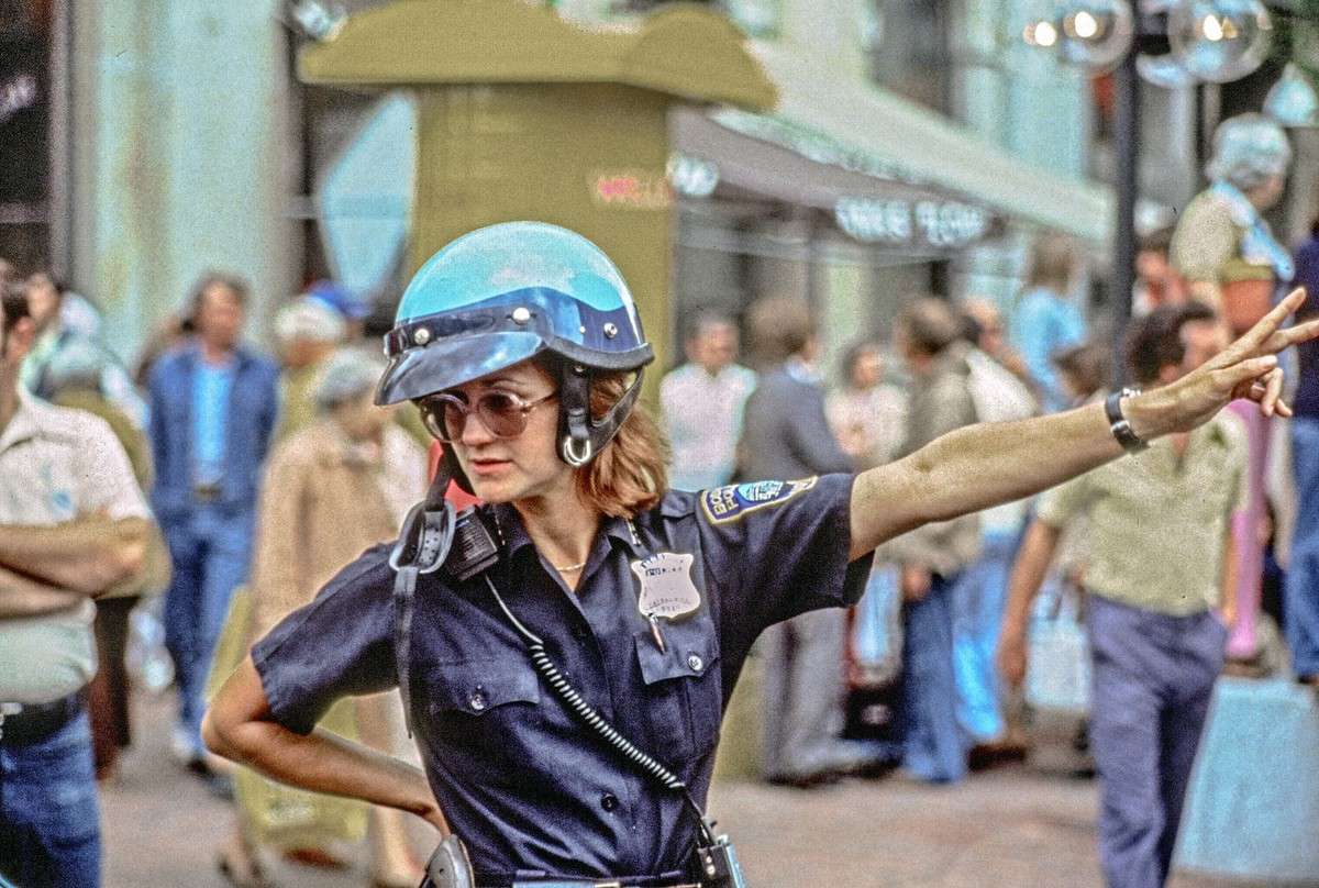 A motorcycle cop directs traffic outside Haymarket Square in Boston in 1979