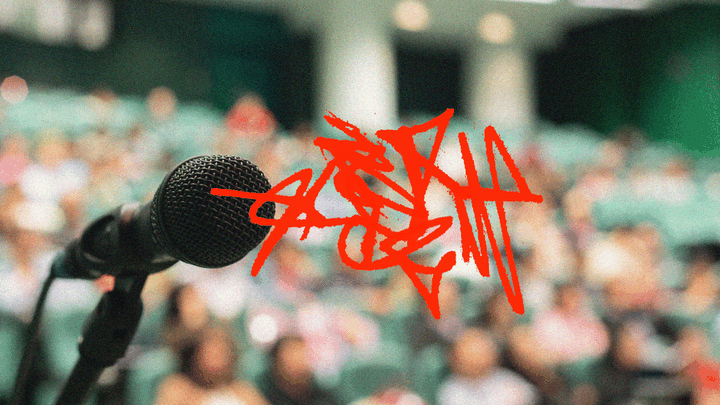 An illustration of a microphone with red scribbles next to it