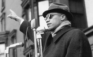 Malcolm X speaking at a Harlem rally, ca. 1962
